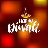 Diwali festival poster with hand lettering. Vector lamp illustration for Indian holiday greeting or invitation card. Stock Image