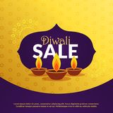 Diwali festival sale background template with diya. Vector design Royalty Free Stock Photography