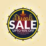 Diwali festival sale banner with light bulbs in circle. Vector Royalty Free Stock Images