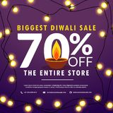 Diwali festival sale discount and offers banner with light bulbs. Decoration and diya Royalty Free Stock Photo