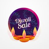 Diwali festival sale poster design with diya and fireworks. Vector illustration Royalty Free Stock Images