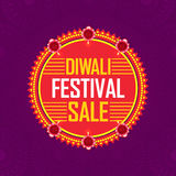 Diwali Festival Sale Sticker or Label. Diwali Festival Sale, Sticker, Tag or Label with Lit Lamps, Bumper Dhamaka Offer, Special Clearance Sale - Vector Stock Photography