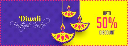 Diwali Festival Sale up to 50% discount offer, website header or. Banner design with creative oil lamps hang on yellow and purple background royalty free illustration