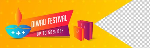 Diwali Festival sale upto 50% discount offer, shopping bag and i. Lluminated oil lamp on shiny yellow background with space for your product image stock illustration