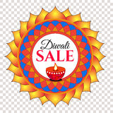 Diwali festival sale. Vector red, orange, blue round eastern, oriental ornament, banner, tag, label, sticker isolated on  transparent background Royalty Free Stock Images