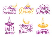 Diwali festival set of hand lettering. Vector lamp illustrations for Indian holiday greeting or invitation card. Royalty Free Stock Photography