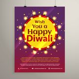 Diwali festival wishes flyer invitation with lights bulbs in a c Stock Photography