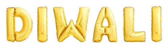 Diwali festivalnamn som göras av den guld- uppblåsbara ballongen på vit royaltyfri foto