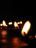 Diwali Flames. Beautiful oillamps lit up in the festive occasion of Diwali in India
