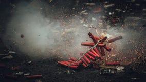 Diwali fyrverkerier Bijli som brister i handling Arkivbilder