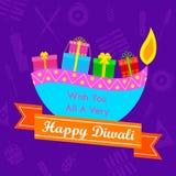 Diwali Gift with colorful diya Stock Photos