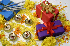 Diwali Gifts. Gifts and lamps at traditional Indian festival, it is tradition to distribute gifts and lamps to friends and relatives on the occasion of Diwali royalty free stock photo