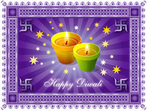Diwali Greeting. With lights and decorative border royalty free illustration