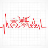 Diwali greeting background with heartbeat. Illustration of diwali greeting background with heartbeat Stock Photography