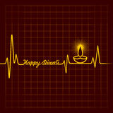 Diwali greeting background with heartbeat Royalty Free Stock Photography