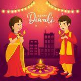 Diwali greeting card with cartoon indian kids. Cute cartoon indian kids in traditional clothes holding diya oil lamp on urban city background celebrating the