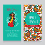 Diwali greeting cards. Template for holiday design in indian style, cute doodle indian woman, vector illustration