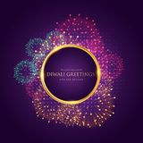 Diwali greeting with colorful fireworks. Vector Royalty Free Stock Photos