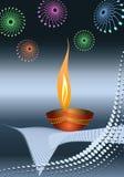 Diwali Greeting. Fire Works Deepak Halftone Stock Images