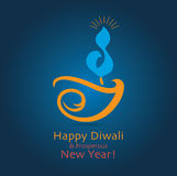 Diwali Greeting. Vector on blue gradient background Stock Photos