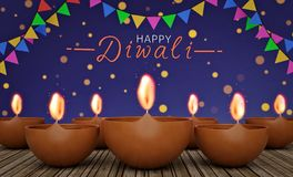 Diwali greetings with glowing lamps 3d rendering Stock Photo