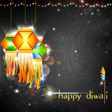 Diwali Hanging Lantern. Illustration of hanging lantern with firework in diwali night Royalty Free Stock Photo