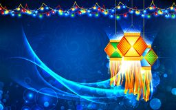 Diwali Hanging Lantern. Illustration of hanging lantern with firework in diwali night