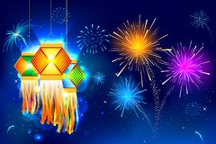 Diwali Hanging Lantern. Illustration of hanging lantern with firework in diwali night Stock Photography
