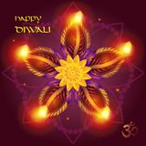 Diwali. Happy Diwali burning diya oil lamp. Indian festival of lights happy Diwali Holiday festive background for light festival of India. Greeting card abstract Royalty Free Stock Image