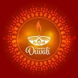 Diwali heureux avec la conception de vecteur de fond d'art d'Inde de cercle de connexion de lampe de Diwali Image libre de droits