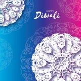 Diwali heureux Célébration indienne dans le style de coupe de papier Beau festival d'origami des lumières indou Mandala blanc Vec Images stock
