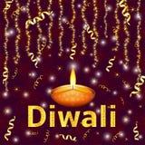 Diwali heureux - fond coloré W de festival indien traditionnel Image stock