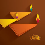 Diwali heureux Graphique de papier d'Indien Diya Oil Lamp Design Photos stock