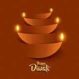 Diwali heureux Graphique de papier d'Indien Diya Oil Lamp Design Photos libres de droits