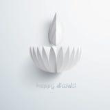 Diwali heureux Graphique de papier d'Indien Diya Oil Lamp Design Image libre de droits