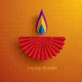 Diwali heureux Graphique de papier d'Indien Diya Oil Lamp Design illustration stock