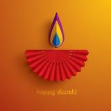 Diwali heureux Graphique de papier d'Indien Diya Oil Lamp Design Images libres de droits