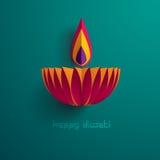 Diwali heureux Graphique de papier d'Indien Diya Oil Lamp Design Photographie stock libre de droits