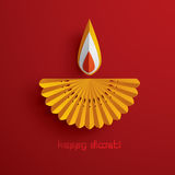 Diwali heureux Graphique de papier d'Indien Diya Oil Lamp Design Images stock