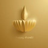 Diwali heureux Graphique de papier d'Indien Diya Oil Lamp Design Image stock