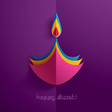 Diwali heureux Graphique de papier d'Indien Diya Oil Lamp Design Photo libre de droits