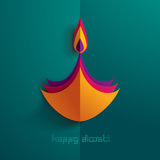 Diwali heureux Graphique de papier d'Indien Diya Oil Lamp Design Photographie stock