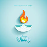 Diwali heureux Graphique de papier d'Indien Diya Oil Lamp Design Photo stock