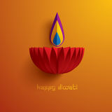 Diwali heureux Graphique de papier d'Indien Diya Oil Lamp Design illustration de vecteur