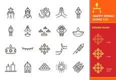 Diwali Hindu festival elements. 20 Thin line vector editable icons. Stroke easily editable.  vector illustration