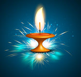 Diwali hindu festival oil lamp blue background Royalty Free Stock Photography