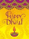 Diwali Holiday background. Diwali festival greeting card with Diwali diya oil lamp stock illustration