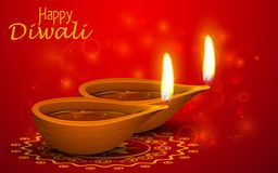 Diwali Holiday background. Illustration of burning diya on Diwali Holiday background