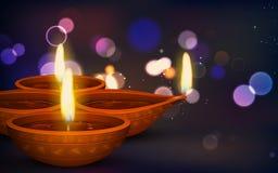 Diwali Holiday background. Illustration of burning diya on Diwali Holiday background