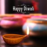 Diwali Holiday background. Illustration of burning diya on Diwali Holiday background stock illustration